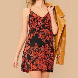 Dresses & Skirts - Orange V neck Floral Dress in XS, S, M, L